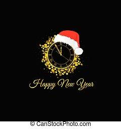 ρολόι , εικόνα , αριστερός καπέλο , ευτυχισμένος , έτος , καινούργιος