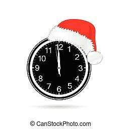 ρολόι , εικόνα , μικροβιοφορέας , έτος , καινούργιος , καπέλο , xριστούγεννα