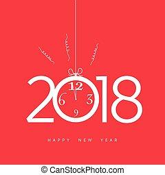 ρολόι , εικόνα , 2018, έτος , καινούργιος , ευτυχισμένος