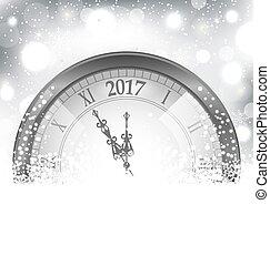 ρολόι , κατακλύζω , μεσάνυκτα , φόντο , έτος , καινούργιος , 2017