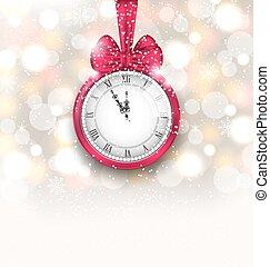 ρολόι , μεσάνυκτα , αφρώδης , φόντο , έτος , καινούργιος