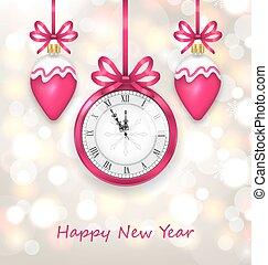 ρολόι , μεσάνυκτα , λαμπερός , φόντο , έτος , καινούργιος