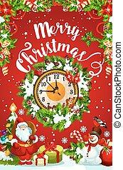 ρολόι , μεσάνυκτα , χαιρετισμός , xριστούγεννα , έτος , καινούργιος , ή , κάρτα