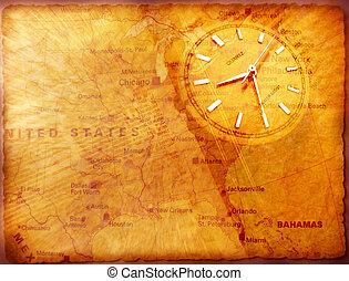 ρολόι , με , γριά , textured , χάρτηs