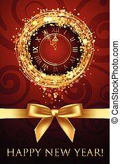 ρολόι , μικροβιοφορέας , έτος , καινούργιος , ευτυχισμένος , κάρτα , ribbbon