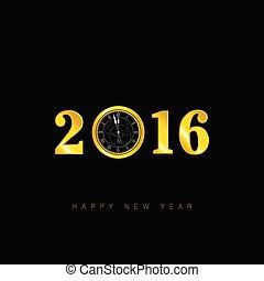 ρολόι , μικροβιοφορέας , έτος , καινούργιος , 2016, ευτυχισμένος