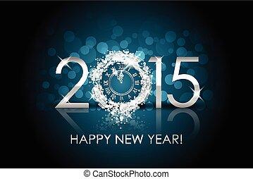 ρολόι , μικροβιοφορέας , φόντο , έτος , 2015, καινούργιος , ασημένια , ευτυχισμένος