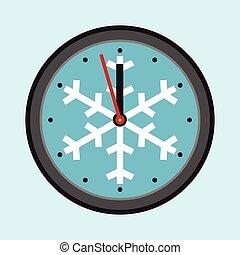 ρολόι , νιφάδα χιονιού , xριστούγεννα
