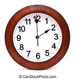 ρολόι , ξύλινος , απομονωμένος , τοίχοs , φόντο , άσπρο
