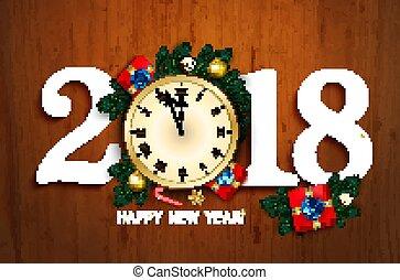ρολόι , πεύκο , δικαίωμα παροχής αγγελία , νέο έτος , καλάμι , κουτί , 2018, γλύκισμα , branc