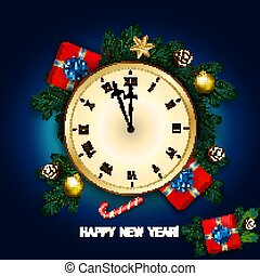 ρολόι , πεύκο , δώρο , βγάζω κλαδιά , κάρτα , νέο έτος , d , καλάμι , κουτί , γλύκισμα