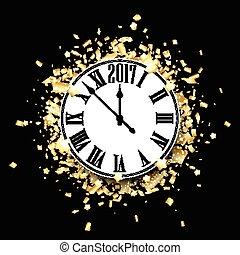 ρολόι , φόντο. , μαύρο , έτος , καινούργιος , 2017