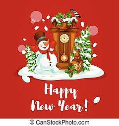ρολόι , χιονάνθρωπος , σχεδιάζω , έτος , καινούργιος , φανάρι