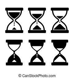 ρολόι , set., απεικόνιση , γυαλί , άμμοs , μικροβιοφορέας