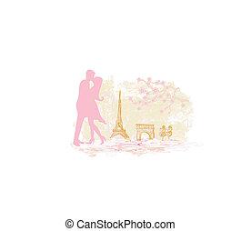 ρομαντικός , παρίσι , ζευγάρι , eiffel , ασπασμός , πύργος
