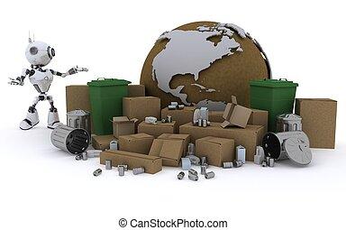 ρομπότ , ανακύκλωση , σπατάλη