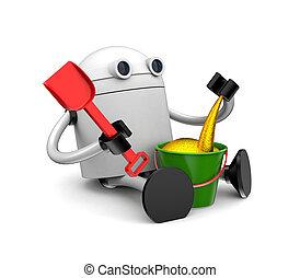 ρομπότ , αναξιόλογος , με , χρυσός , sand., 3d , εικόνα