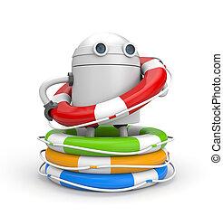 ρομπότ , με , συσσωρεύω , από , ζωή , buoys., 3d , εικόνα