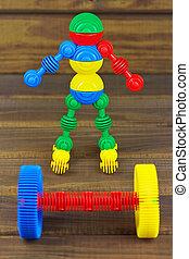 ρομπότ , φίλαθλος , και , barbell , επάνω , ένα , ξύλινος , φόντο