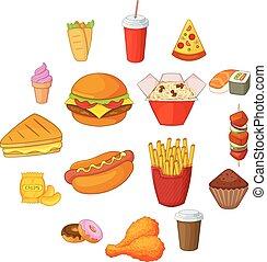 ρυθμός , απεικόνιση , τροφή , γρήγορα , θέτω , γελοιογραφία