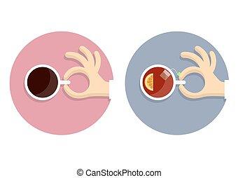 ρυθμός , απεικόνιση , φλιτζάνι τσαγιού , coffe , ανάμιξη , γελοιογραφία