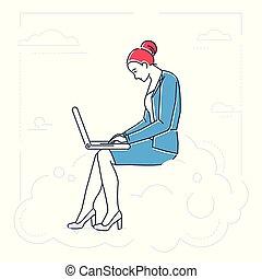 ρυθμός , επιχειρηματίαs γυναίκα , - , απομονωμένος , εικόνα , σημειωματάριο , σχεδιάζω , γραμμή