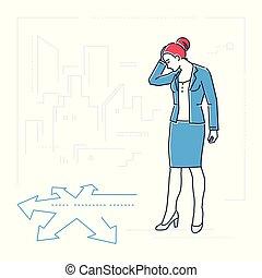 ρυθμός , επιχειρηματίαs γυναίκα , - , απομονωμένος , εικόνα , σταυροδρόμι , σχεδιάζω , γραμμή