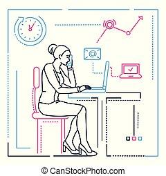 ρυθμός , επιχειρηματίαs γυναίκα , - , εικόνα , ηλεκτρονικός υπολογιστής , σχεδιάζω , γραμμή