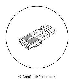 ρυθμός , ηλεκτρονικός υπολογιστής , περίγραμμα , εικόνα , προσωπικό , σύμβολο , απομονωμένος , φόντο. , μικροβιοφορέας , βίντεο , άσπρο , στοκ , κάρτα , illustration.