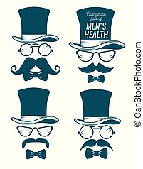 ρυθμός , θέτω , αρσενικό , καπέλο , μουστάκι , γυαλιά