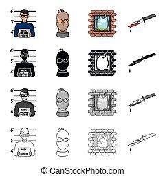 ρυθμός , θέτω , περίγραμμα , απεικόνιση , φωτογραφία , σύμβολο , web., απόδραση , συλλογή , αιματώδης , ληστής , μάσκα , μικροβιοφορέας , μαύρο , εικόνα , knife., μονόχρωμος , αδίκημα εγκληματίας , γελοιογραφία , στοκ