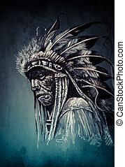 ρυθμός , κρασί , αρχηγός , ινδιάνος , κεφάλι , ιθαγενήs