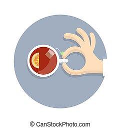ρυθμός , λεμόνι , κύπελο , τσάι , αμπάρι , χέρι , γελοιογραφία