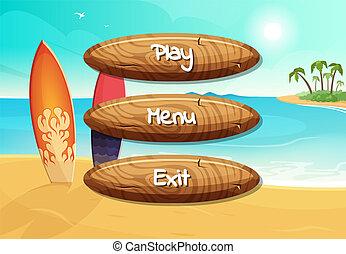ρυθμός , ξύλινος , εδάφιο , γελοιογραφία , κουμπιά , παιγνίδι , μικροβιοφορέας , σχεδιάζω , φόντο , παραλία , σανίδα κυματοδρομίας