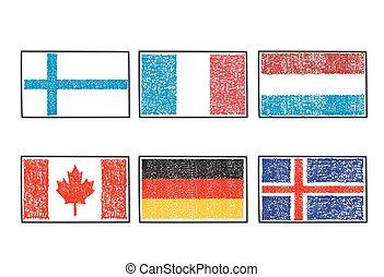 ρυθμός , σημαίες , κόσμοs , γράφω απροσεκτώς , γελοιογραφία , εικόνα