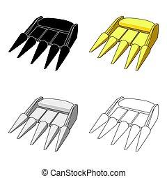 ρυθμός , illustration., spikes., cone-shaped , άκρο σωλήνα , κίτρινο , γελοιογραφία , μονό , μικροβιοφορέας , μηχανήματα , harvest.agricultural, γεωργικός , εικόνα , σύμβολο , τρακτέρ , στοκ