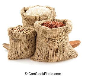 ρύζι , μέσα , λεηλασία , τσάντα , αναμμένος αγαθός