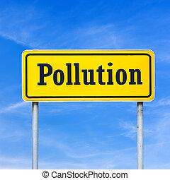 ρύπανση , γραμμένος , επάνω , αστικός δρόμος αναχωρώ
