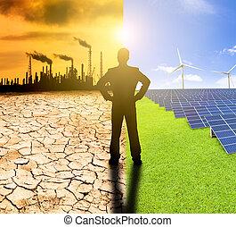 ρύπανση , και , άγραφος δραστηριότητα , concept., επιχειρηματίας , αγρυπνία , ανεμόμυλος , ηλιακός , διαιρώ σε ορθογώνια , και , διυλιστήριο , με , μόλυνση ατμόσφαιρας