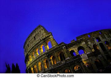 ρώμη , ουρανόs , κολοσσαίο , μπλε , λυκόφως