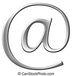 σήμα , από , ο , αλληλογραφία , ασημένια , γωνιόμετρο , σύμβολο