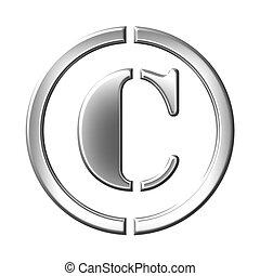 σήμα , από , ο , copyrught, ασημένια , γωνιόμετρο , σύμβολο