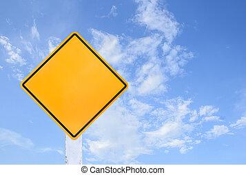 σήμα , γαλάζιος ουρανός , κυκλοφορία , απομονωμένος , κίτρινο