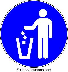 σήμα , επέτρεψα , trow, σκουπίδια , μπλε