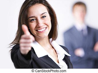 σήμα , επιχειρηματίαs γυναίκα , εκδήλωση , πάνω , αντίστοιχος δάκτυλος ζώου , φόντο , επιχειρηματίας