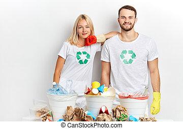 σήμα , ζευγάρι , έχει , φανελάκι , βαθμός , ανακύκλωση , ήρεμος , άσπρο , σκουπίδια