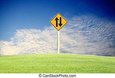 σήμα κυκλοφορίας , αγίνωτος αγρωστίδες , θαμπάδα , γαλάζιος ουρανός