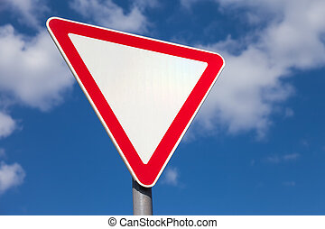 σήμα κυκλοφορίας , εναντίον , γαλάζιος ουρανός , φόντο