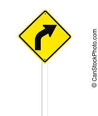 σήμα , φόντο. , κυκλοφορία , καμπύλος , άσπρο , δρόμοs
