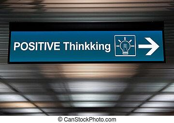 σήμα , direction., θετικός , εικόνα , concept., σκεπτόμενος , βέλος , κρίνω , lightbulb
